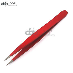DDP Stainless Steel Fine Point Tweezer, Red Hair Remover