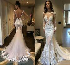 Neu Sexy Spitze Brautkleider Langarm Abendkleid Rückenfrei Hochzeitskleider