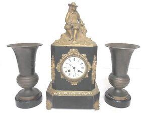 ANTIQUE FRENCH VICTORIAN MANTEL CLOCK W/ BRONZE OR BRASS MAN