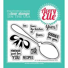 Avery Elle Clear Stamp Set Homemade Spoon Bow Sentiments