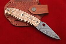 Custom Handmade Damascus Folding Knife Rose Gold Full Engraved Steel Handle