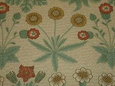 """WILLIAM MORRIS CURTAIN FABRIC DESIGN """"Daisy"""" 1.1 METRES TERRACOTTA/GOLD (110 CM)"""