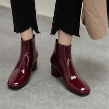 British Patent Leather Womens Ankle Boots Chunky Block Mid Heel Closed Toe Shoes