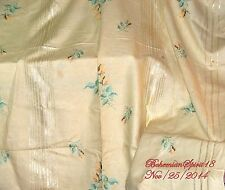 Antique Large Pale Yellow Roses Hand Embroidery Gold Thread Linen Tablecloth