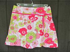 Briggs of NY Skort Size 4 Skirt Shorts Pink Flowers Ribbon Details Zipper Golf