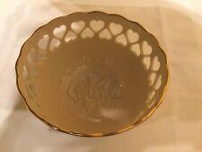 Lenox Pierced Heart Bowl Embossed Rose Blossom 24K Gold Trim $5 Ship