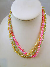 """FRESHWATER PEARL THREE STRAND 16"""" NECKLACE IN PINK, CREAM AND AQUA"""