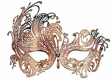 Masquerade Mask Metal Venetian Party Mask with Rhinestones (Rose Gold)