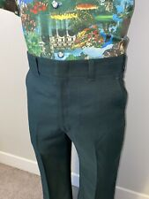 Vtg 60s 70s Mens 32 30 Haggar Pants Polyester Leisure Disco Dark Green Flare Leg