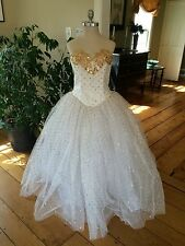 Vintage 80's White W Gold Sequins Tulle Cocktail Dress Prom Ballgown