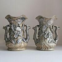 coppia di splendidi vasi liberty in gres ceramica art nouveau arredo vintage