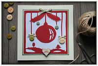 Beautiful LUXURY Handmade Greeting Christmas Card envelope Christmas Bauble