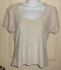 NWT Women's Express Tricot Size M- Tan Short Sleeve Top Blouse