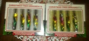 8 VINTAGE GLASS MULTI-COLORED ICICLE CHRISTMAS ORNAMENTS WITH BOXES! ROMANIA!