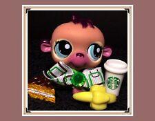 Littlest Pet Shop LPS #1925 STAR GAZIN BABY Tan & Pink Monkey Chimp Starbucks