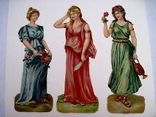 Gorgeous 1873 Die-cut Set of Three Greek Women w/ Mirror, Urn and Red Roses *