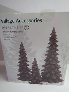 Dept 56 Village Accessories Set Of 3 Brown Holiday Trees 4047560