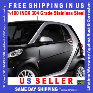 SMART FORTWO W451 CHROME DOOR HANDLE COVER TRIM 2 PCS STAINLESS STEEL 2007-2014