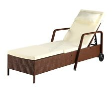 More details for birchtree rattan day chair recliner sun bed lounger wicker garden terrace brown