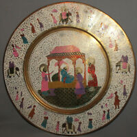 VINTAGE ISLAMIC HAND MADE ORNATE ENAMEL BRASS WALL HANGING PLATE