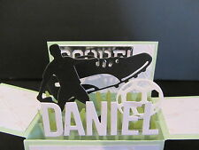Handmade 3D Birthday Card in a box -Soccer/Football,Tennis,Basketb, PERSONALISED
