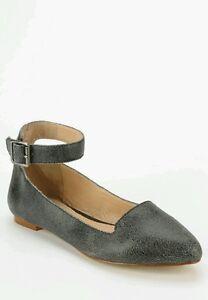 Kelsi Dagger Brooklyn KDB Yelle flat Leather Ankle Wrap Size 10 Gray