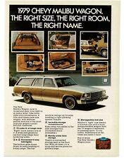 1979 Chevrolet Chevy MALIBU Station Wagon White Wood Trim VTG PRINT AD