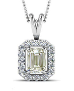3.11 Ct VVS1-,OFF WHITE YELLOW EMERALD MOISSANITE DIAMOND 925 SILVER PENDANT