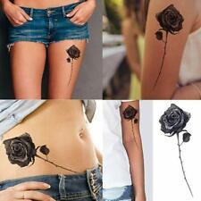 LARGE SMALL BLACK ROSES FLOWER TEMPORARY TATTOOS WOMEN ARM HALLOWEEN VAMPIRE