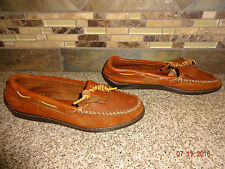 Womens Sz 8 MINNETONKA MOCCASINS Brown Leather Mocs Shoes Tie Rubber Soles