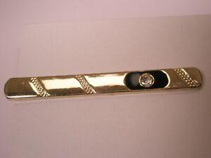 -White Rhinestone Black & Gold Tone Simple Design Quality Vintage Tie Bar Clip