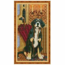 Dog Ready To Go Out DIY Handmade Needlework Counted 14CT Printed Cross Stitch
