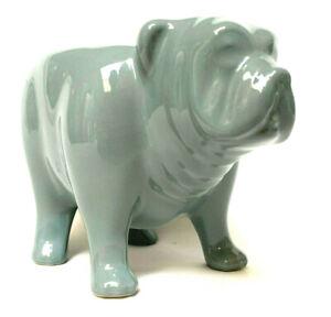 Fishs Eddy Creamer French Bulldog Ceramic Slate Blue Pitcher