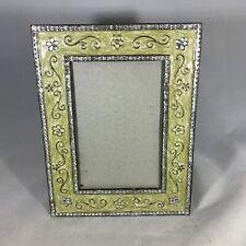 Beautiful Rhinestone Cream Enamel Picture Frame Silver Beaded Trim 4x6 Photos