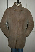VTG LONG HAIR SHEARLING SHEEP SUEDE Leather BOHO HIPSTER Coat Jacket men L 42 44