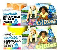 2 Packs RoseArt Washable Sidewalk Chalk Glitter Orange Blue Yellow & Green Paint