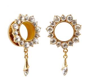 DANGLE GOLD CLEAR GEM Stainless Steel Ear Tunnels Piercing Jewellery TU141