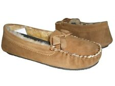 Daniel Green Women's Nessa Loafers Chestnut Shearling Leather/Fur Lining Sz 9 M