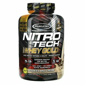 Muscletech, Nitro Tech, 100% Whey Gold, Cookies and Cream, 5.51 lbs (2.50 kg)