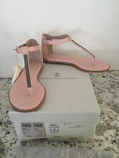 "NIB Brunello Cucinelli ""Blossom"" Monili Pink Leather Sandals Size 6.5"