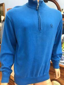 Calvin Klein Blue Zip Neck Long Sleeve Golf Jumper Size L