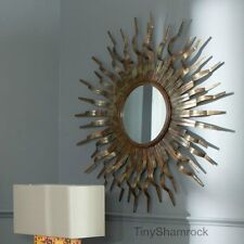 Copper Sunburst Decorative Wall Mirror Round Bronze Art Metal Sculpture Large