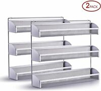 2 Pack Simple Trending 3 Tier Spice Rack Organizer Wall Mounted Spice Shelf