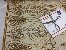 Dk Gold Mesh Sequins Embroider On A Mesh Fabric-Wedding-Dress.Sold by the yard.