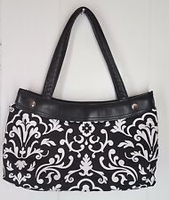 Thirty One black white print skirt purse Base double handle handbag