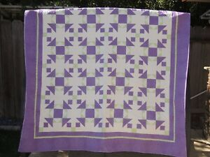 "New Lavender Weird Aunt Dinah Handmade in the USA Queen Size Quilt 813"" X 99"""