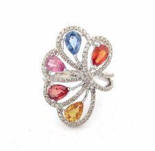 18K Butterfly Flower Round Pear Diamond Sapphire Citrine Granite Color Ring 4.59