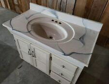"Antique White Marble top bathroom vanity 37"" x 19"" single blue / gray swirls"