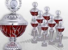 8er Pokalserie Pokale RED STARLIGHT mit Gravur günstige Pokale silber / rot