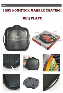 Korean Square BBQ Plate Non-Stick Marble Coated Portable Butane Gas stove plate